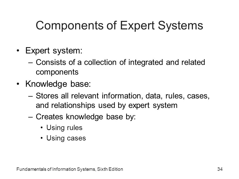 Fundamentals of Information Systems, Sixth Edition34 Components of Expert Systems Expert system: –Consists of a collection of integrated and related c