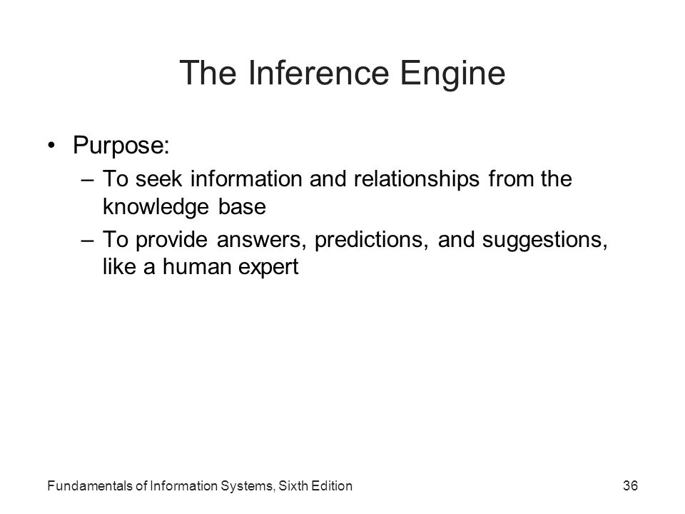 Fundamentals of Information Systems, Sixth Edition36 The Inference Engine Purpose: –To seek information and relationships from the knowledge base –To