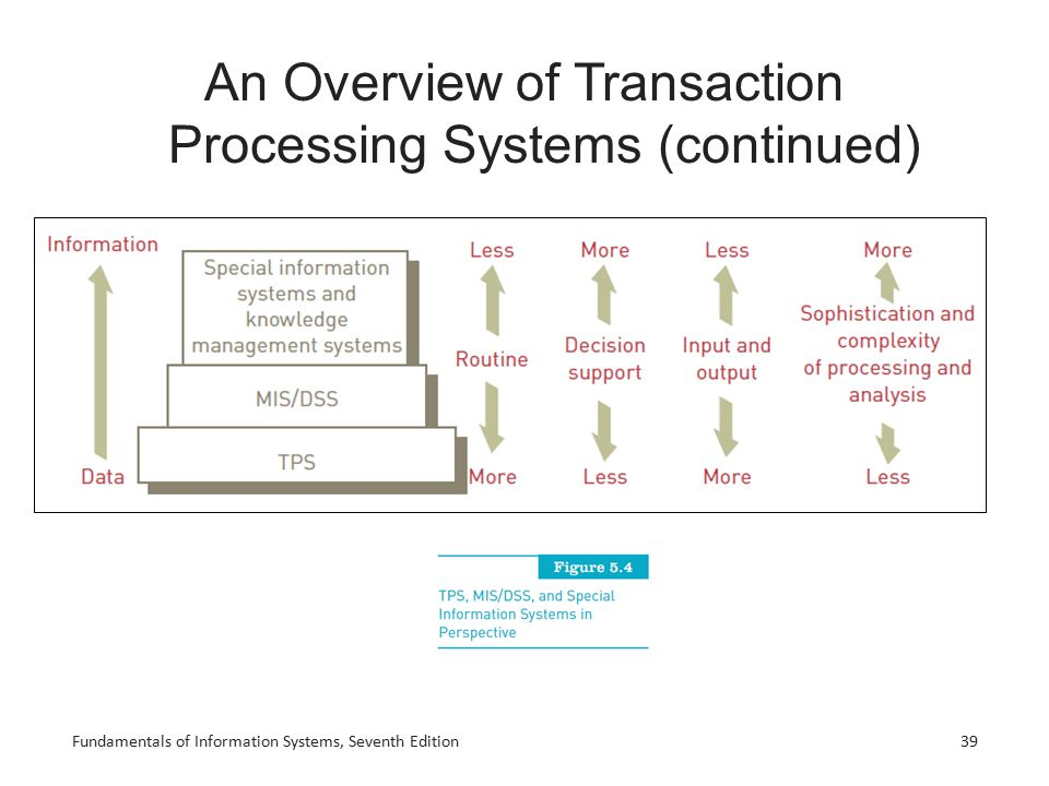 Fundamentals of Information Systems, Seventh Edition39 An Overview of Transaction Processing Systems (continued)