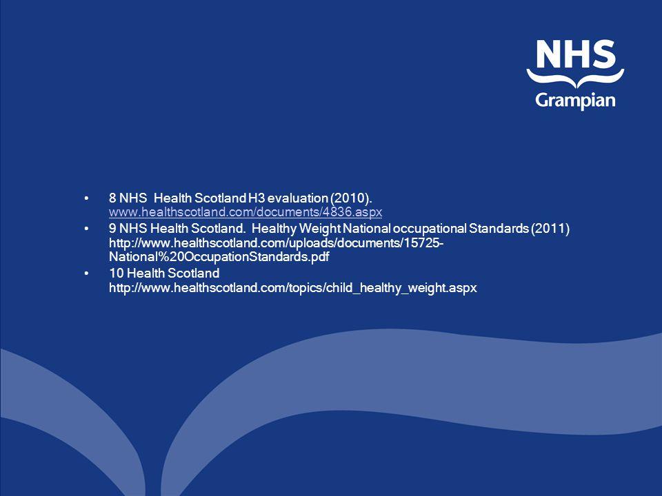 8 NHS Health Scotland H3 evaluation (2010). www.healthscotland.com/documents/4836.aspx www.healthscotland.com/documents/4836.aspx 9 NHS Health Scotlan