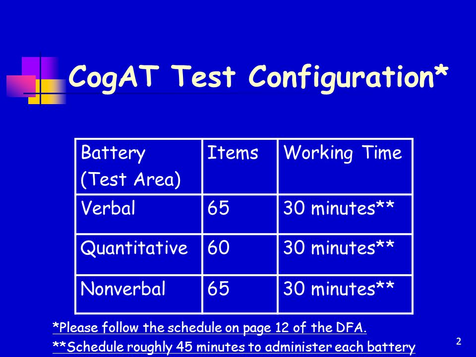3 Administration Schedule Grade 2 Cognitive Abilities Test (CogAT) Grade 2 Monday, March 16- Wednesday March 18, 2015 A school may administer more than one battery a day, if necessary.