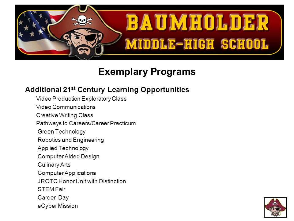 Exemplary Programs Additional 21 st Century Learning Opportunities Video Production Exploratory Class Video Communications Creative Writing Class Path