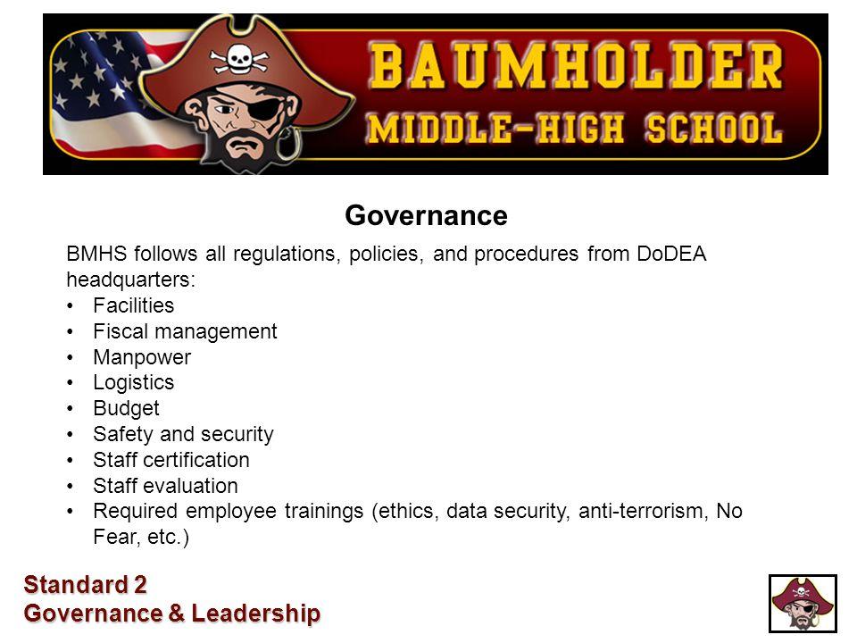 Governance BMHS follows all regulations, policies, and procedures from DoDEA headquarters: Facilities Fiscal management Manpower Logistics Budget Safe