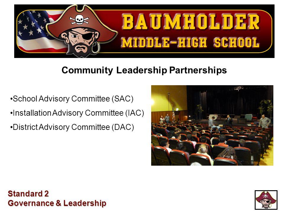 School Advisory Committee (SAC) Installation Advisory Committee (IAC) District Advisory Committee (DAC) Standard 2 Governance & Leadership Community L