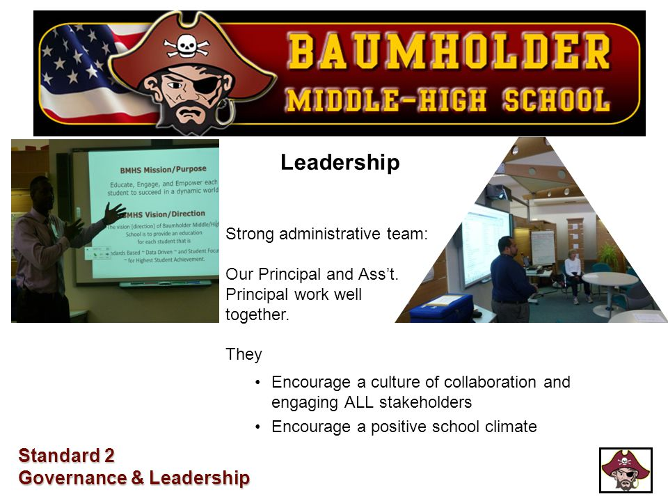 Leadership Encourage a culture of collaboration and engaging ALL stakeholders Encourage a positive school climate Strong administrative team: Our Prin