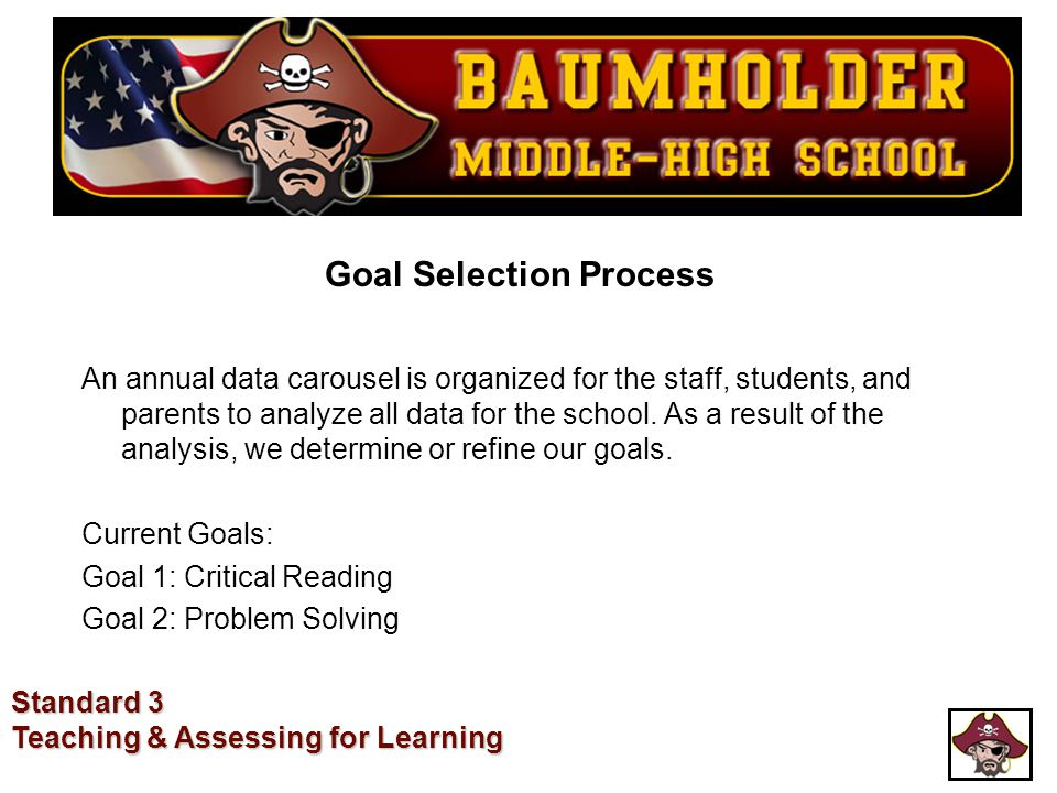 Goal Selection Process An annual data carousel is organized for the staff, students, and parents to analyze all data for the school. As a result of th