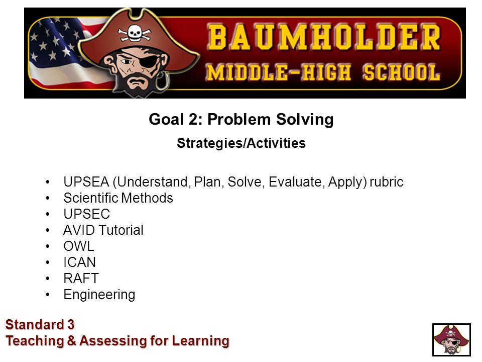 Goal 2: Problem Solving Strategies/Activities UPSEA (Understand, Plan, Solve, Evaluate, Apply) rubric Scientific Methods UPSEC AVID Tutorial OWL ICAN