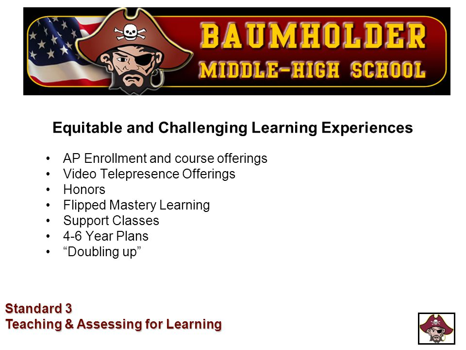Equitable and Challenging Learning Experiences AP Enrollment and course offerings Video Telepresence Offerings Honors Flipped Mastery Learning Support