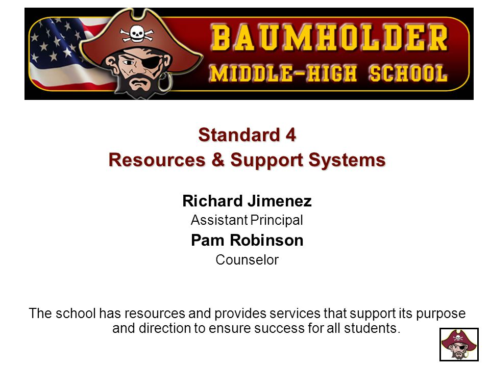 Standard 4 Resources & Support Systems Richard Jimenez Assistant Principal Pam Robinson Counselor The school has resources and provides services that