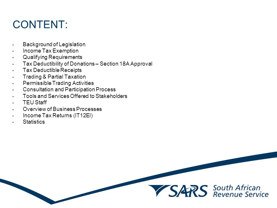 BACKGROUND: New legislation came into operation on 15 July 2001 The objective of the legislation is to: Group types of organisations together; Treat all types of organisations uniformly; Provide qualifying requirements; and Ensure consistency.