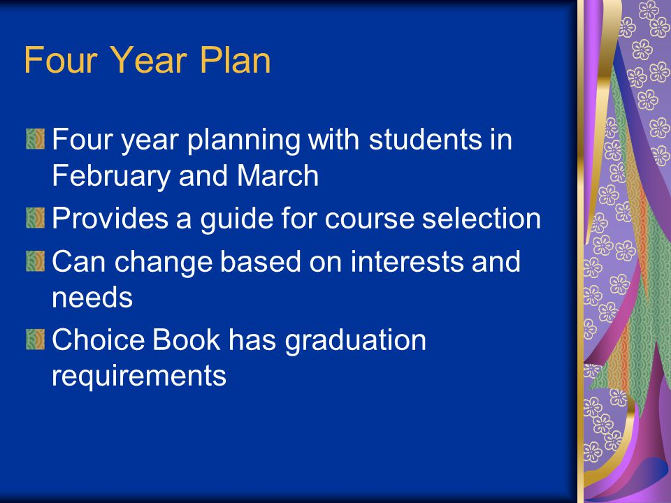 Four Year Plan Four year planning with students in February and March Provides a guide for course selection Can change based on interests and needs Choice Book has graduation requirements