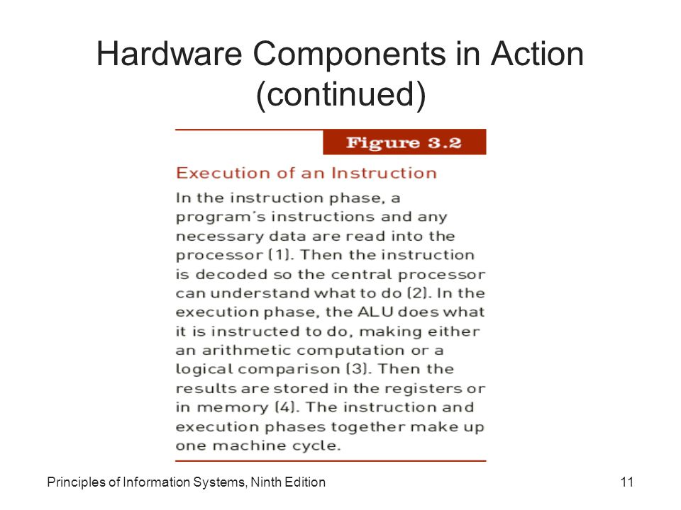 Principles of Information Systems, Ninth Edition11 Hardware Components in Action (continued)