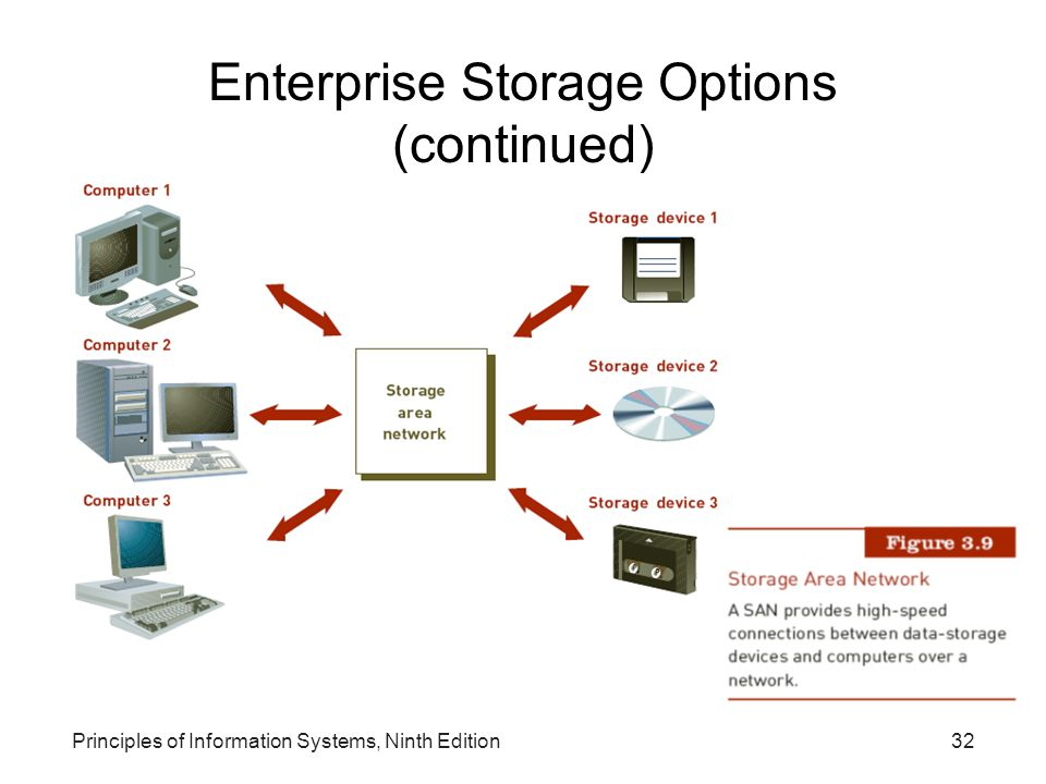 Principles of Information Systems, Ninth Edition32 Enterprise Storage Options (continued)