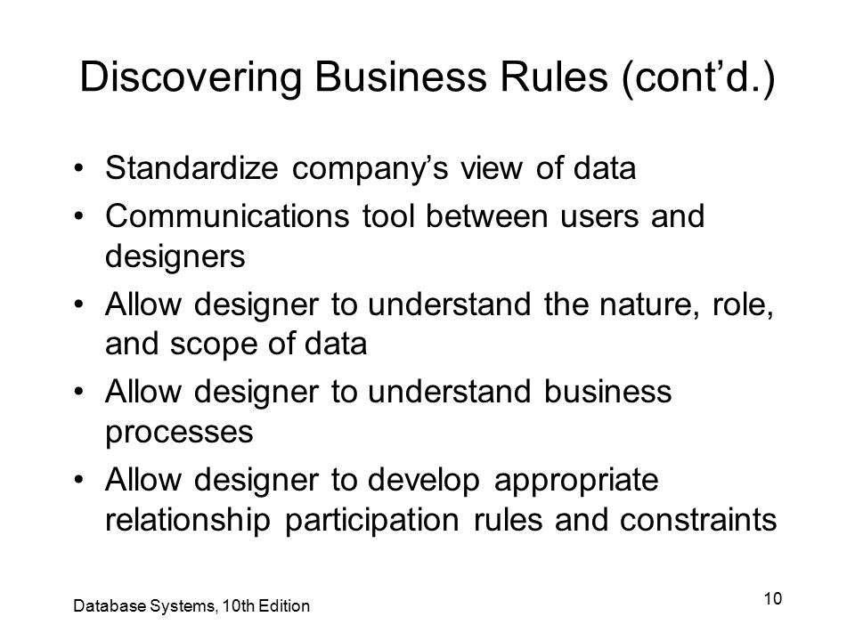 10 Discovering Business Rules (cont'd.) Standardize company's view of data Communications tool between users and designers Allow designer to understan