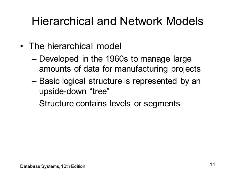 14 Hierarchical and Network Models The hierarchical model –Developed in the 1960s to manage large amounts of data for manufacturing projects –Basic lo
