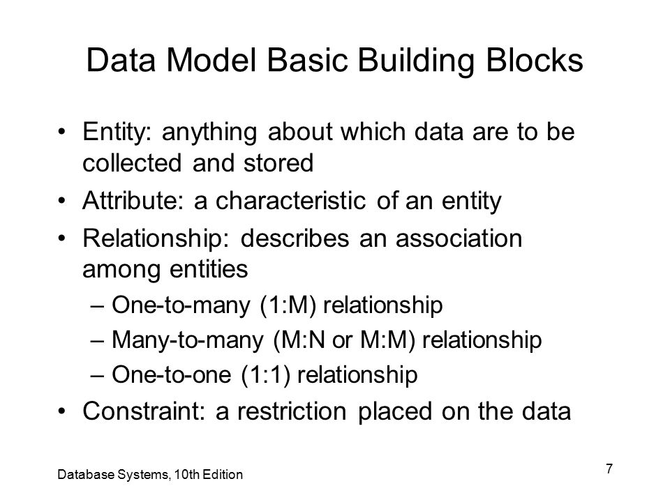 7 Data Model Basic Building Blocks Entity: anything about which data are to be collected and stored Attribute: a characteristic of an entity Relations