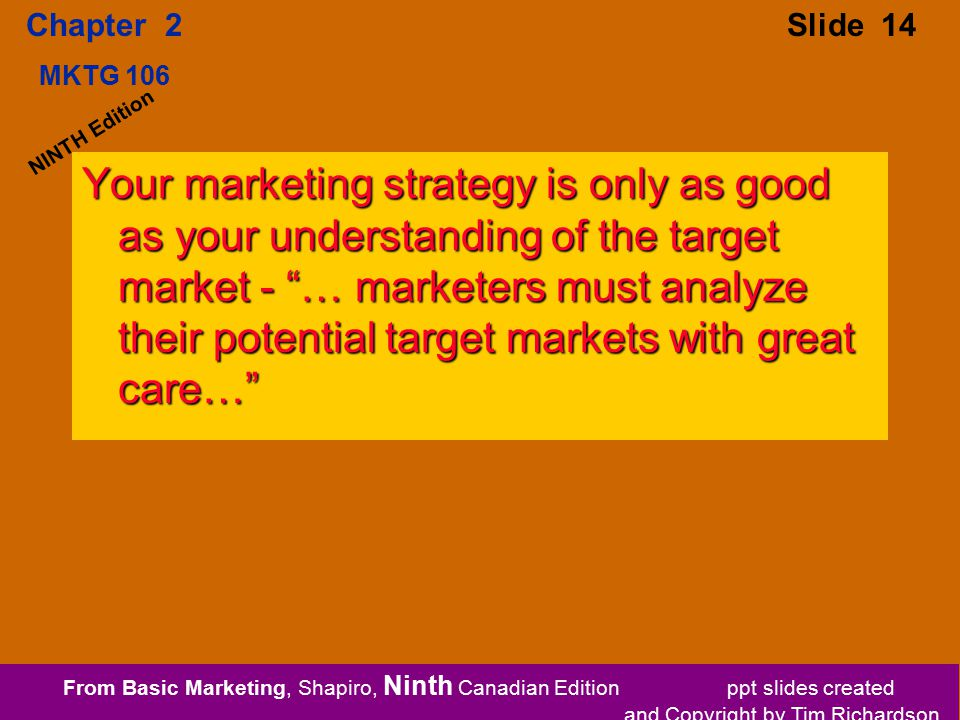 From Basic Marketing, Shapiro, Ninth Canadian Edition ppt slides created and Copyright by Tim Richardson Chapter 2 MKTG 106 Slide 14 NINTH Edition Your marketing strategy is only as good as your understanding of the target market - … marketers must analyze their potential target markets with great care…