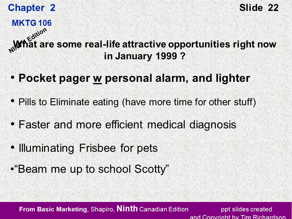 From Basic Marketing, Shapiro, Ninth Canadian Edition ppt slides created and Copyright by Tim Richardson Chapter 2 MKTG 106 Slide 22 NINTH Edition What are some real-life attractive opportunities right now in January 1999 .
