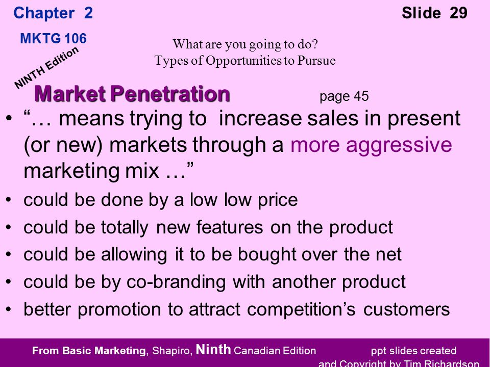 From Basic Marketing, Shapiro, Ninth Canadian Edition ppt slides created and Copyright by Tim Richardson Chapter 2 MKTG 106 Slide 29 NINTH Edition What are you going to do.
