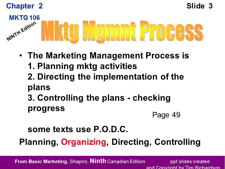 From Basic Marketing, Shapiro, Ninth Canadian Edition ppt slides created and Copyright by Tim Richardson Chapter 2 MKTG 106 Slide 3 NINTH Edition The Marketing Management Process is 1.