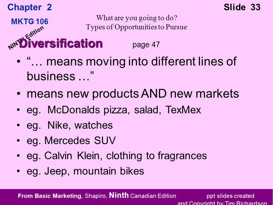 From Basic Marketing, Shapiro, Ninth Canadian Edition ppt slides created and Copyright by Tim Richardson Chapter 2 MKTG 106 Slide 33 NINTH Edition What are you going to do.