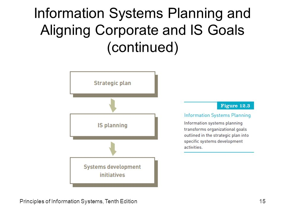 Information Systems Planning and Aligning Corporate and IS Goals (continued) Principles of Information Systems, Tenth Edition15