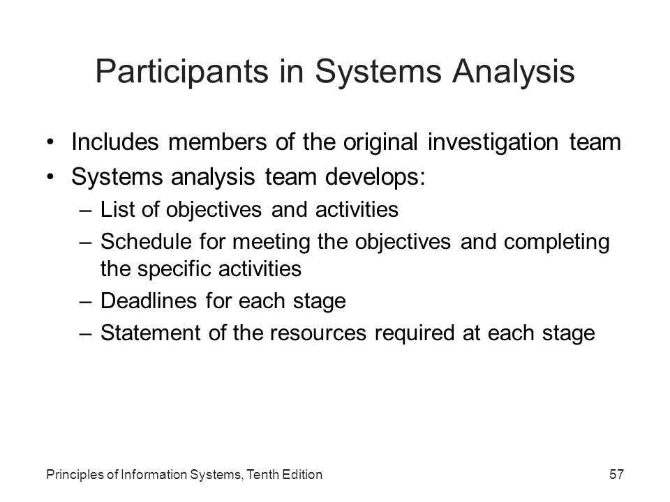 Participants in Systems Analysis Includes members of the original investigation team Systems analysis team develops: –List of objectives and activities –Schedule for meeting the objectives and completing the specific activities –Deadlines for each stage –Statement of the resources required at each stage Principles of Information Systems, Tenth Edition57