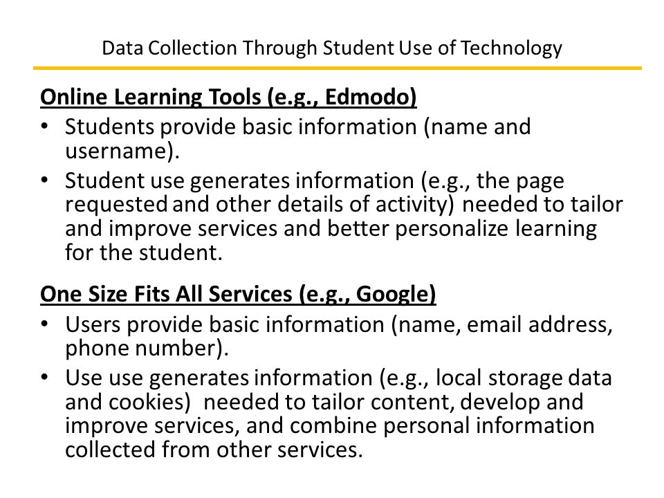 Data Collection Through Student Use of Technology Online Learning Tools (e.g., Edmodo) Students provide basic information (name and username).