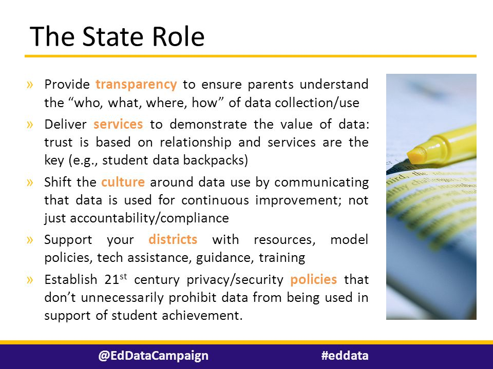 """» Provide transparency to ensure parents understand the """"who, what, where, how"""" of data collection/use » Deliver services to demonstrate the value of"""