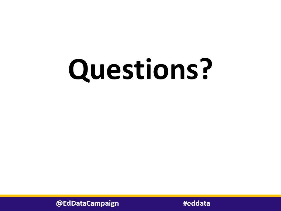 Questions? #eddata@EdDataCampaign