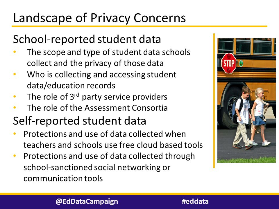#eddata@EdDataCampaign Landscape of Privacy Concerns School-reported student data The scope and type of student data schools collect and the privacy o