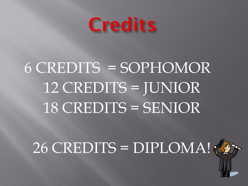 6 CREDITS = SOPHOMOR 12 CREDITS = JUNIOR 18 CREDITS = SENIOR 26 CREDITS = DIPLOMA!