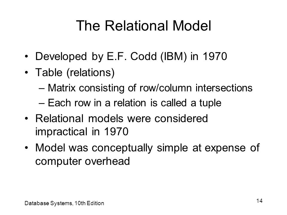 14 The Relational Model Developed by E.F. Codd (IBM) in 1970 Table (relations) –Matrix consisting of row/column intersections –Each row in a relation