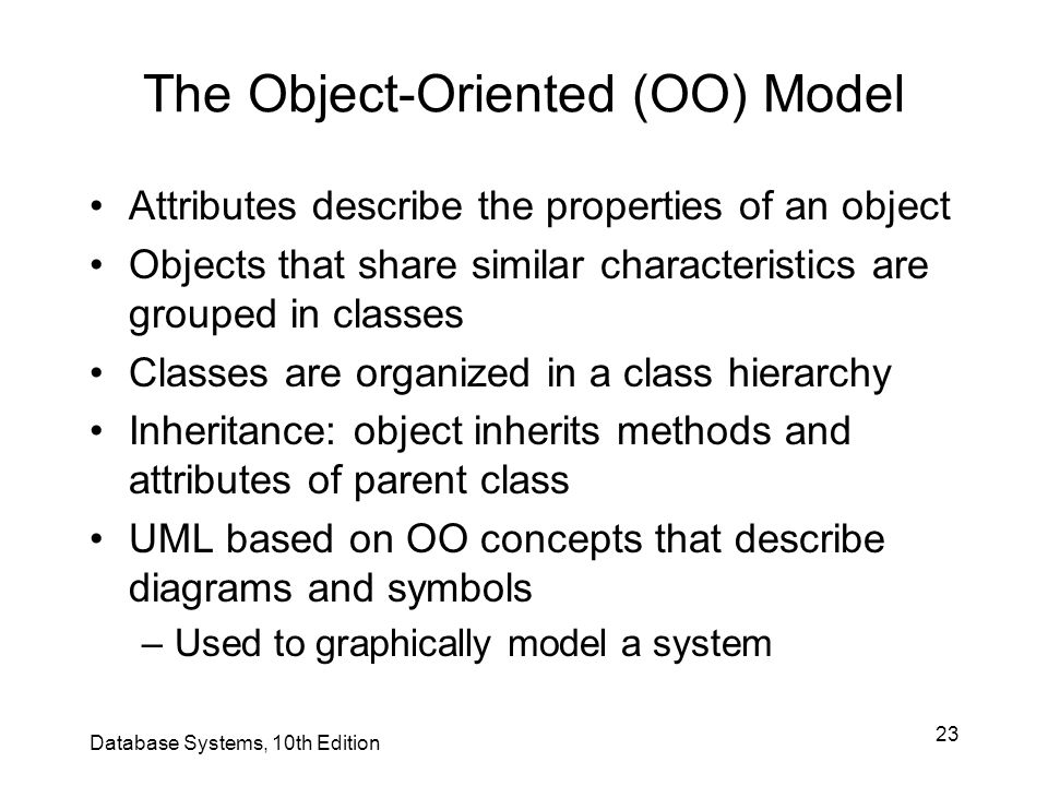 23 The Object-Oriented (OO) Model Attributes describe the properties of an object Objects that share similar characteristics are grouped in classes Cl