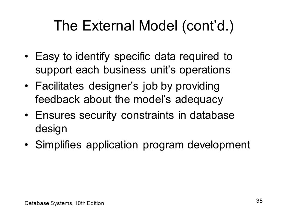 35 The External Model (cont'd.) Easy to identify specific data required to support each business unit's operations Facilitates designer's job by provi