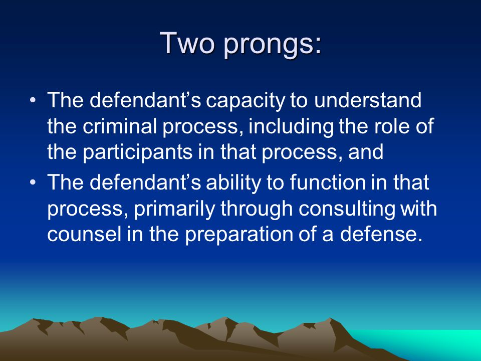 Two prongs: The defendant's capacity to understand the criminal process, including the role of the participants in that process, and The defendant's ability to function in that process, primarily through consulting with counsel in the preparation of a defense.
