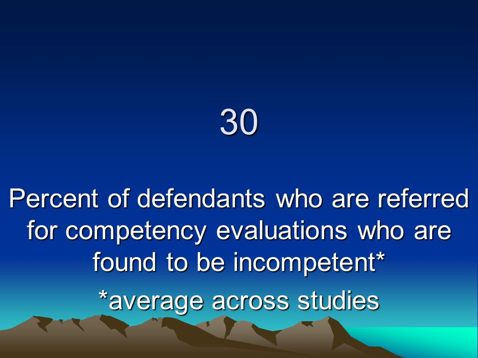 30 Percent of defendants who are referred for competency evaluations who are found to be incompetent* *average across studies