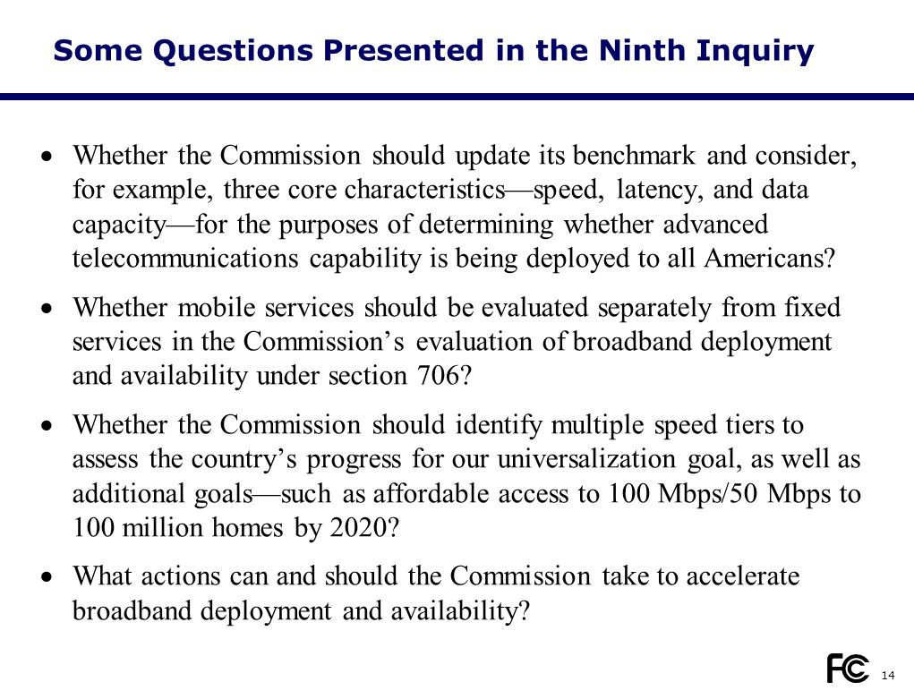 Some Questions Presented in the Ninth Inquiry  Whether the Commission should update its benchmark and consider, for example, three core characteristics—speed, latency, and data capacity—for the purposes of determining whether advanced telecommunications capability is being deployed to all Americans.