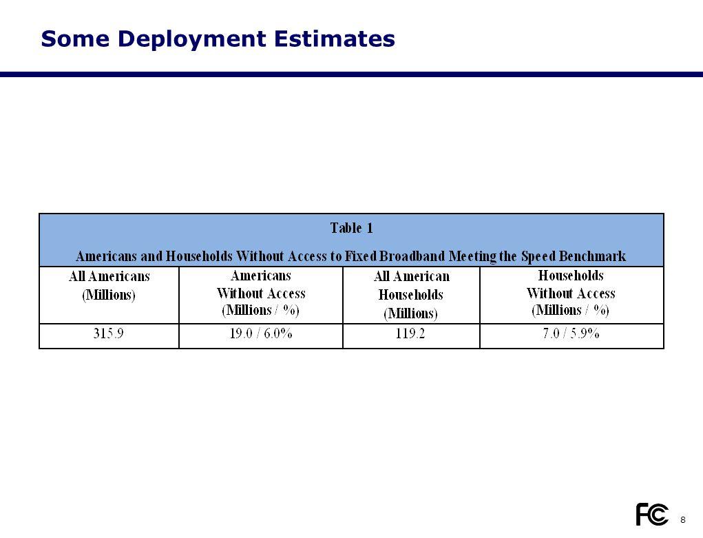 Some Deployment Estimates 8