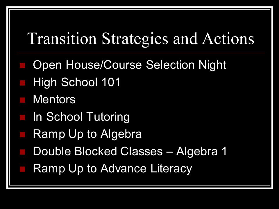 Transition Strategies and Actions Open House/Course Selection Night High School 101 Mentors In School Tutoring Ramp Up to Algebra Double Blocked Classes – Algebra 1 Ramp Up to Advance Literacy