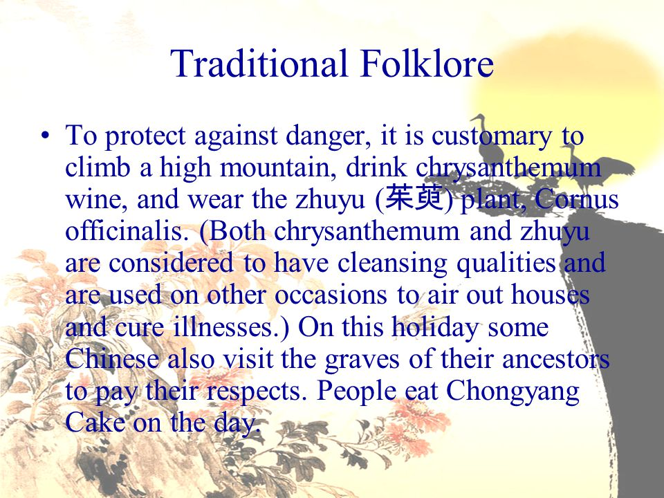Traditional Folklore To protect against danger, it is customary to climb a high mountain, drink chrysanthemum wine, and wear the zhuyu ( 茱萸 ) plant, C