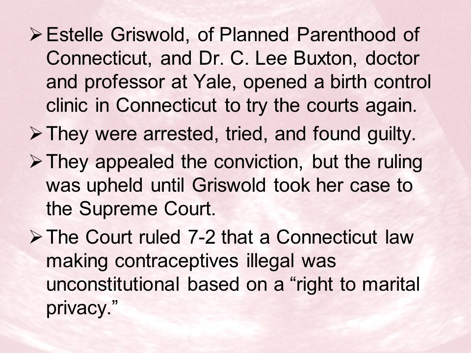 Background Georgia law prohibited abortion except on medical advice to preserve the life or health of the mother, when the fetus would likely be born defective, or when the pregnancy had resulted from rape Doe challenged Georgia law after she was denied an abortion at eight weeks because her pregnancy did not fall into any of the above categories