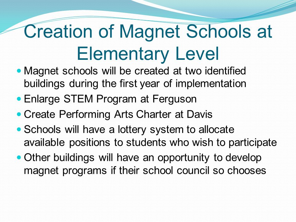 Creation of Magnet Schools at Elementary Level Magnet schools will be created at two identified buildings during the first year of implementation Enlarge STEM Program at Ferguson Create Performing Arts Charter at Davis Schools will have a lottery system to allocate available positions to students who wish to participate Other buildings will have an opportunity to develop magnet programs if their school council so chooses