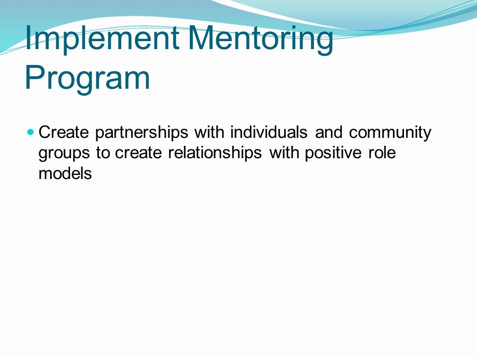 Implement Mentoring Program Create partnerships with individuals and community groups to create relationships with positive role models