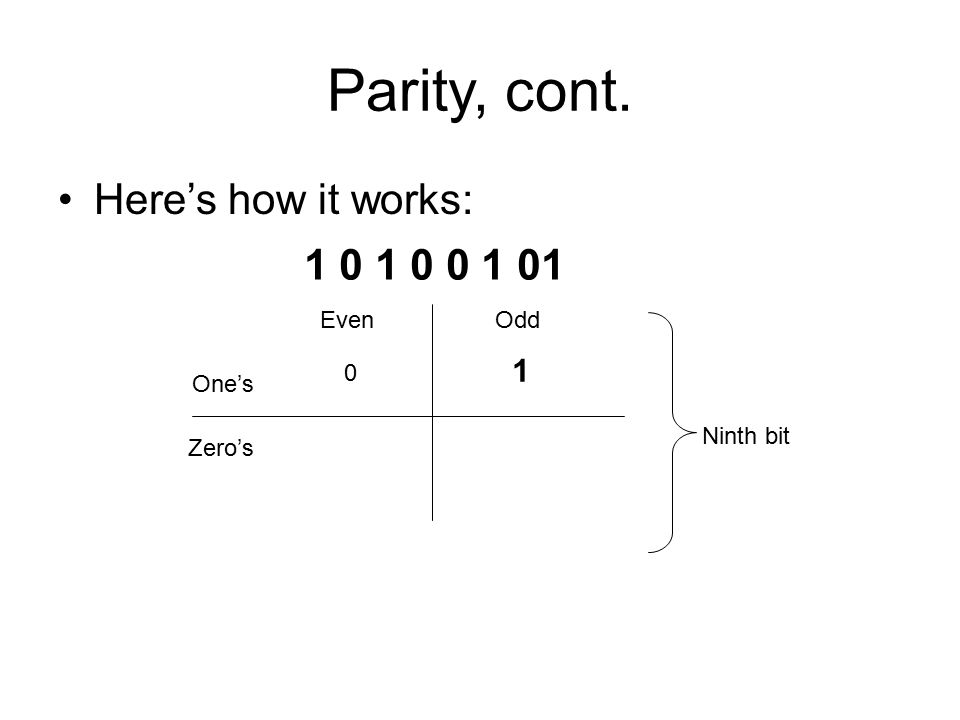 Parity, cont. Here's how it works: 1 0 1 0 0 1 01 Even Odd One's Zero's 0 1 Ninth bit