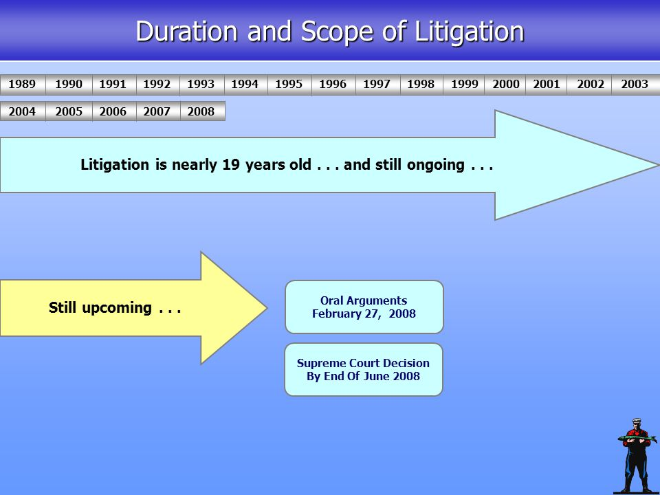 Litigation is nearly 19 years old... and still ongoing...