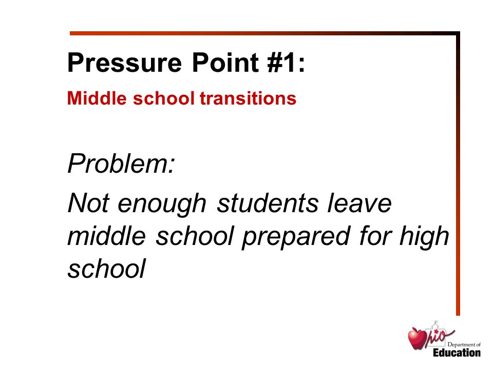 Problem: Not enough students leave middle school prepared for high school Pressure Point #1: Middle school transitions