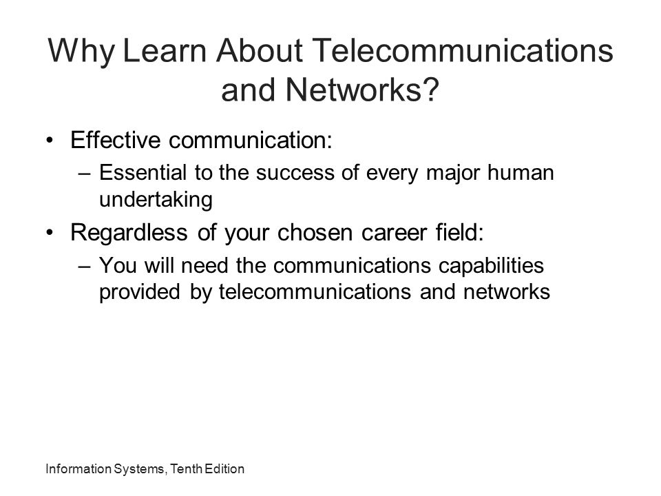 An Overview of Telecommunications Telecommunications: –Electronic transmission of signals for communications Telecommunications medium: –Any material substance that carries an electronic signal to support communications between a sending and receiving device Networking protocol: –Set of rules, algorithms, messages, and other mechanisms that enable software and hardware in networked devices to communicate effectively