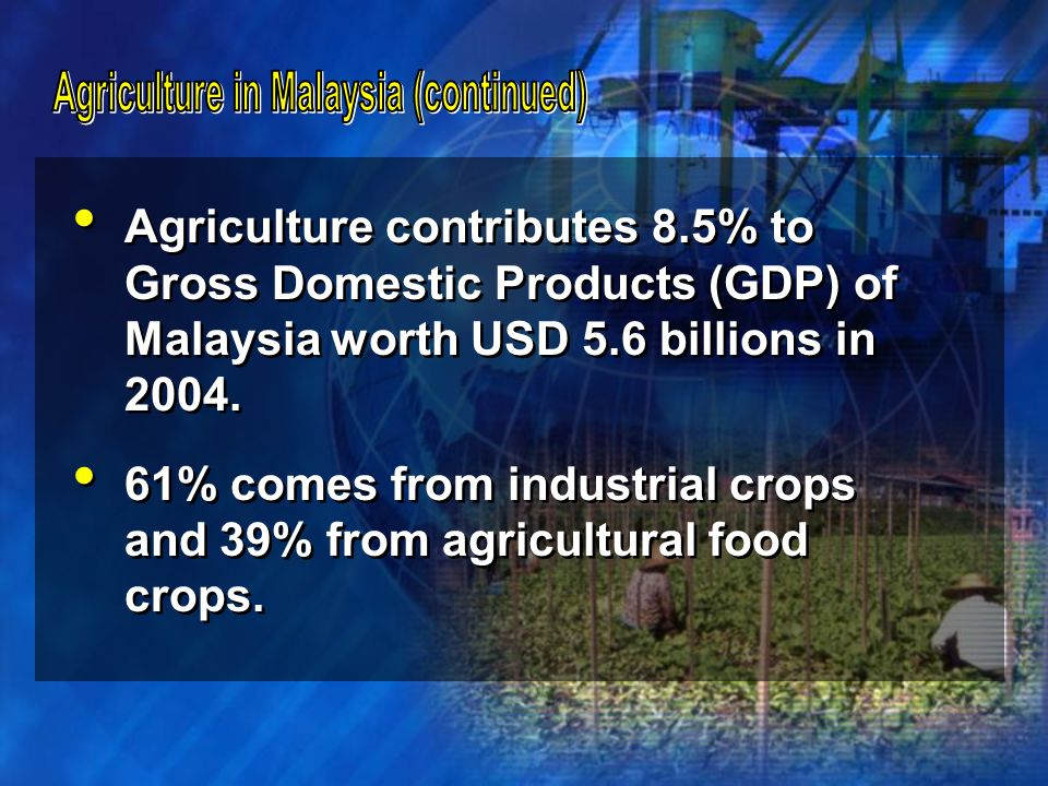 Agriculture contributes 8.5% to Gross Domestic Products (GDP) of Malaysia worth USD 5.6 billions in 2004. 61% comes from industrial crops and 39% from
