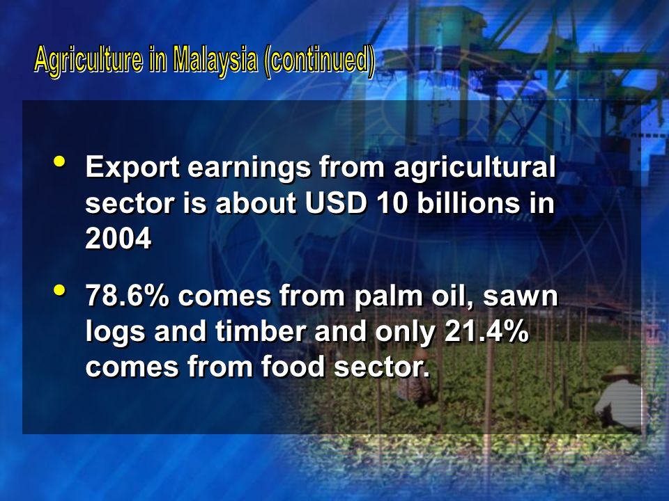 Malaysia import about USD3.5 billion worth of food each year.
